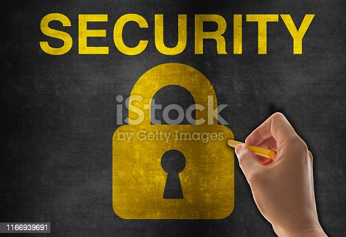 957759714istockphoto Lock Icon on Blackboard 1166939691