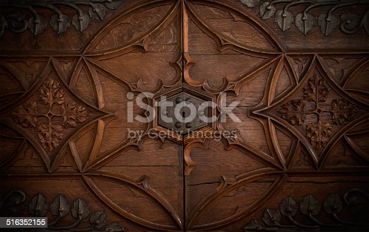 istock Lock in a old chest door 516352155