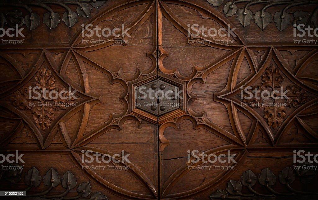Lock in a old chest door stock photo