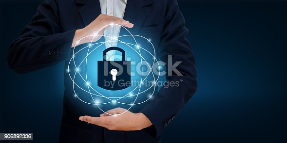 istock lock In the hands of a businessman Shield the shield to protect the cyberspace.Space input data Data Security Business Internet Concept. Secure information 906892336