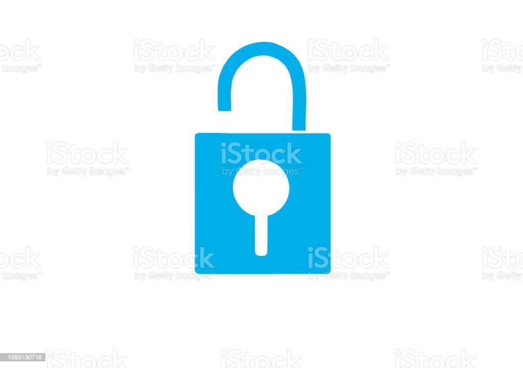 Lock in white background stock photo