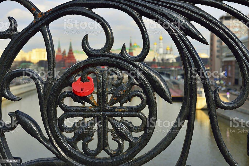 Lock of love on lattice stock photo