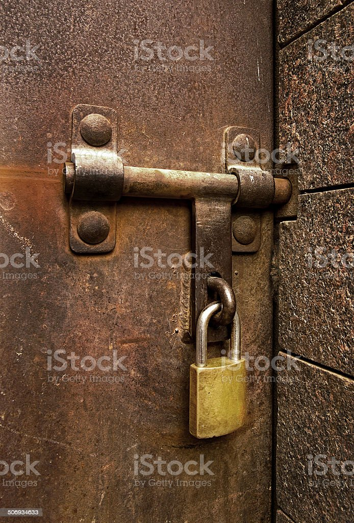 & Lock On A Bolted Door Stock Photo u0026 More Pictures of Brass | iStock