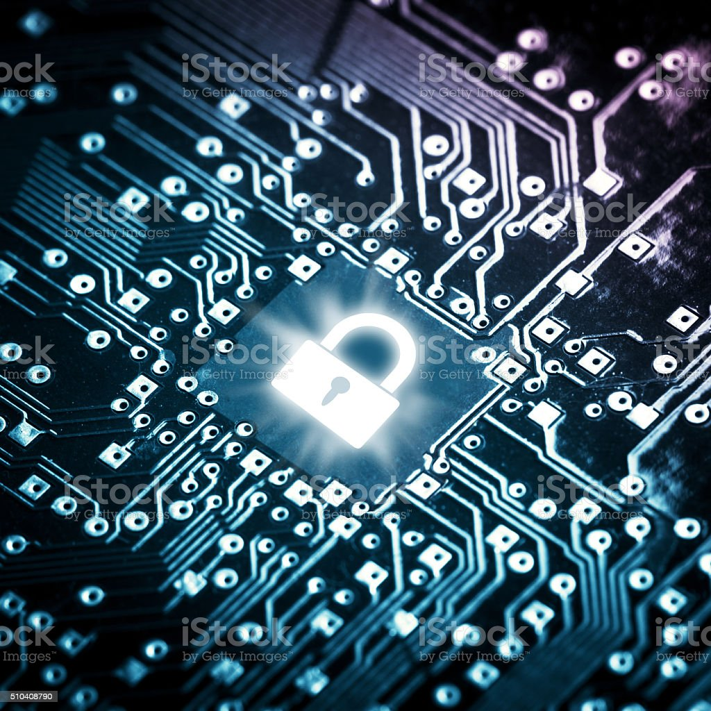 Lock on computer chip stock photo