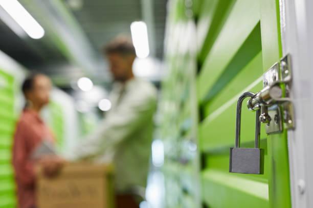 Lock on Storage Unit stock photo