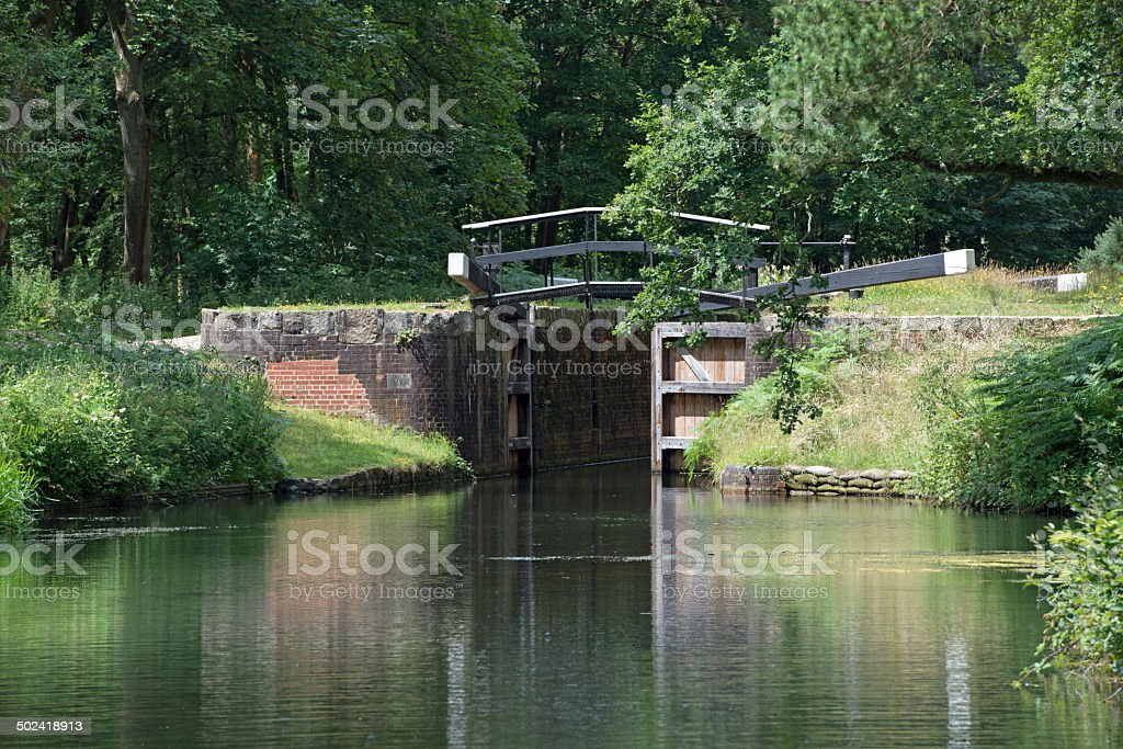 Lock on the Basingstoke Canal stock photo