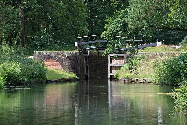 Lock on the Basingstoke Canal stock photo