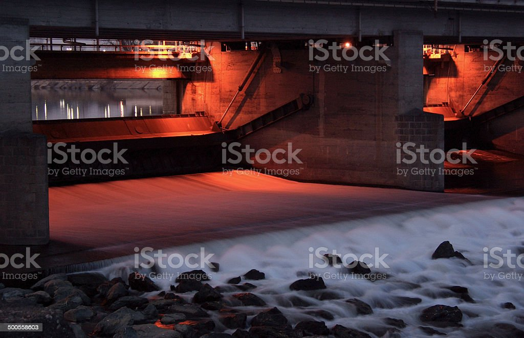 Lock on the river Dora Baltea near Turin royalty-free stock photo