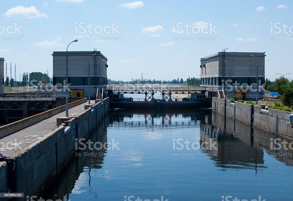 Lock on the Volga river stock photo