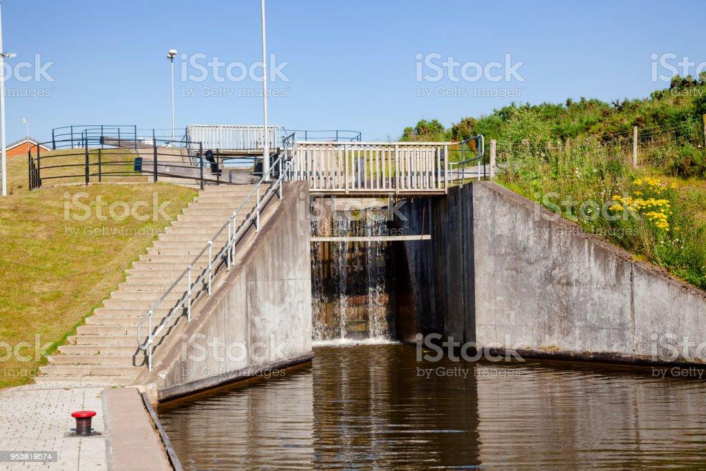 Lock on Union Canal Falkirk Scotland UK stock photo