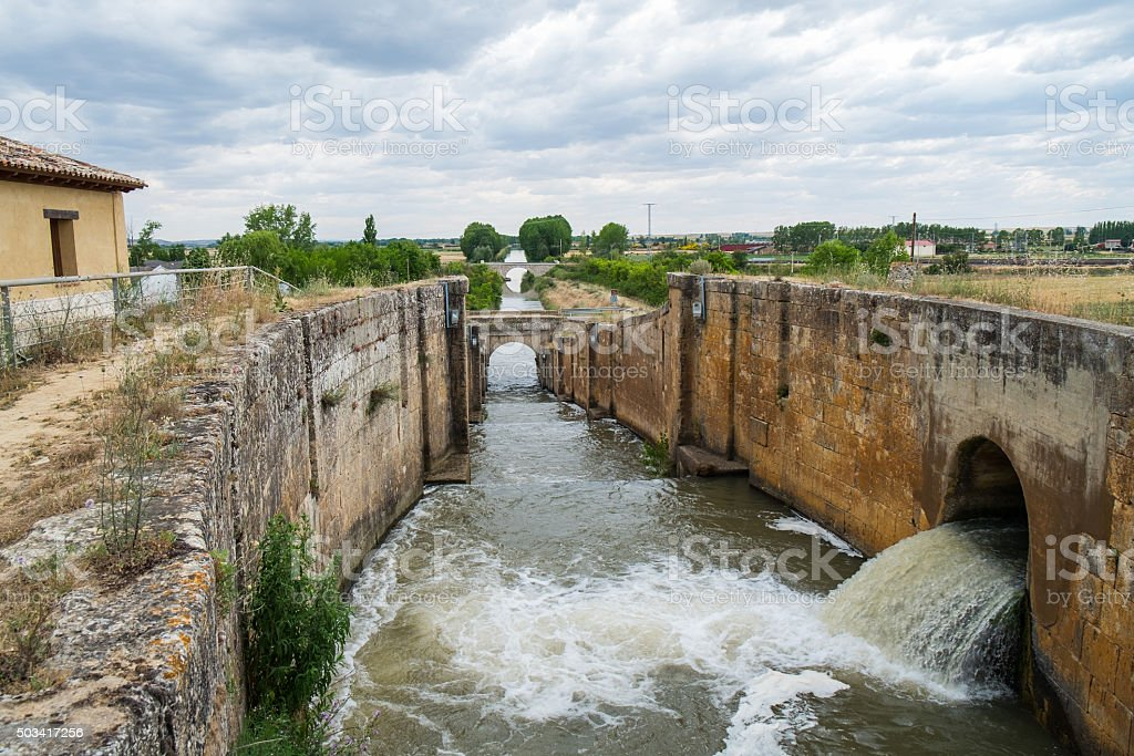 Lock outlet water of Irrigation canal stock photo