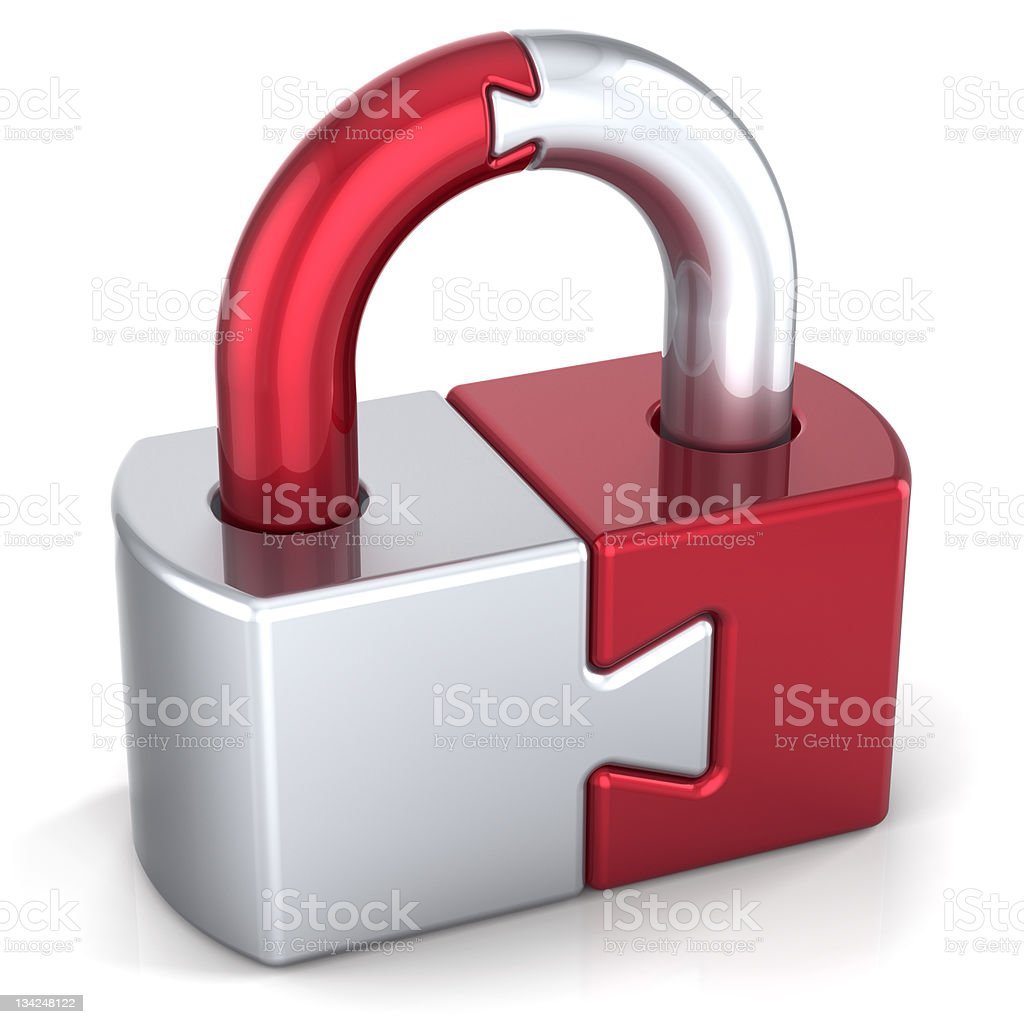 Lock padlock puzzle security icon concept royalty-free stock photo