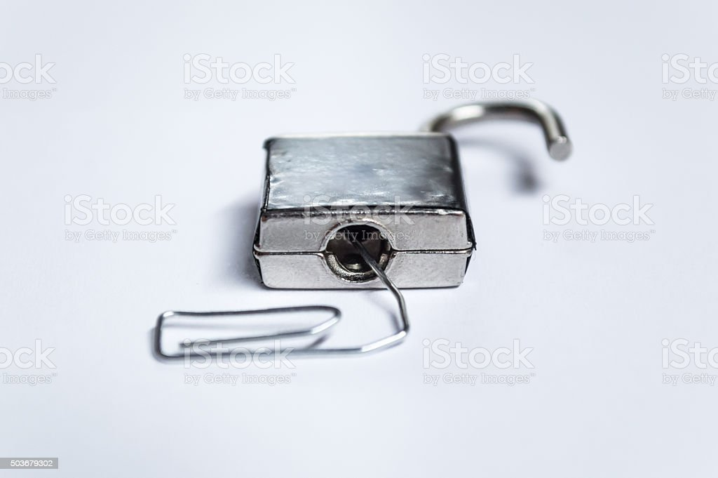 Lock Picking An Unlocked Padlock With A Paperclip Front View