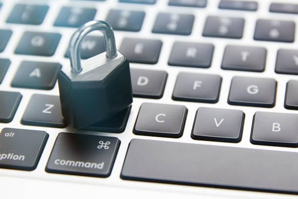 Lock Security on Laptop Keyboard stock photo