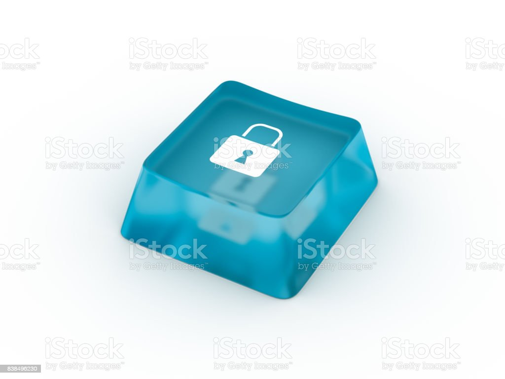 Lock symbol on keyboard button. 3D rendering stock photo