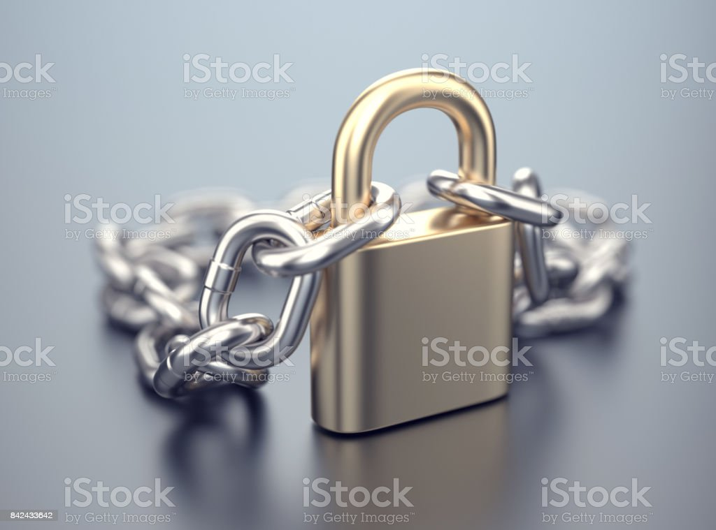 Lock with chain stock photo