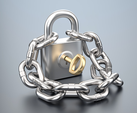 Lock with key and chain