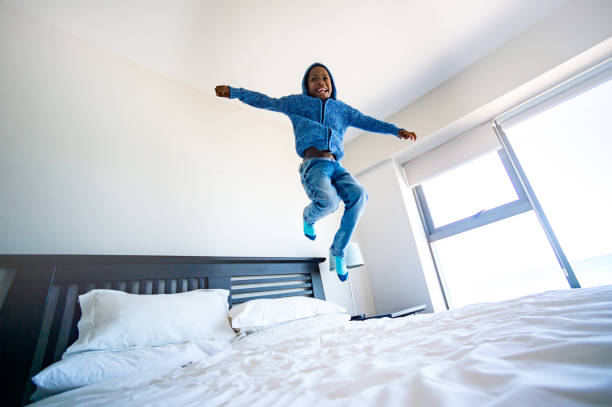 Lockdown Bed Trampoline Jumping stock photo