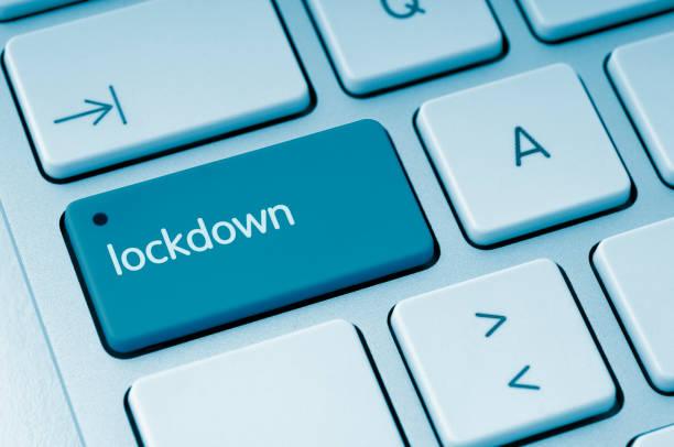Lockdown button stock photo