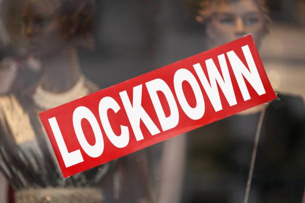 Lockdown - Closed sign stock photo
