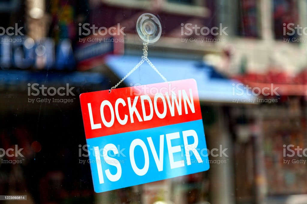 Lockdown is over - Open sign - Royalty-free Bacterium Stock Photo