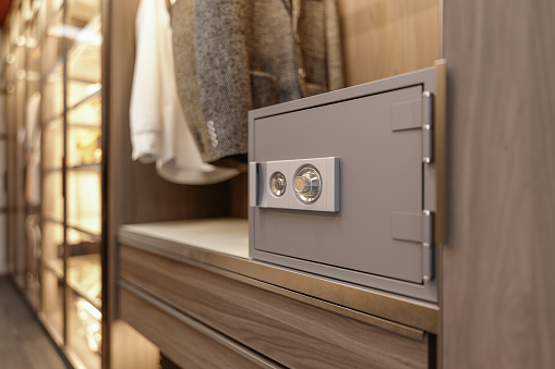 Locked Bank Vault In Closet At Home Or At Hotel Room