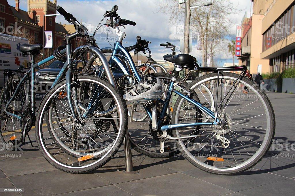 Locked Bicycle stock photo