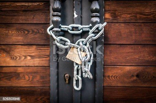 Locked door close-up view