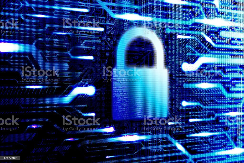 Locked internet cyborg security. Computer login royalty-free stock photo