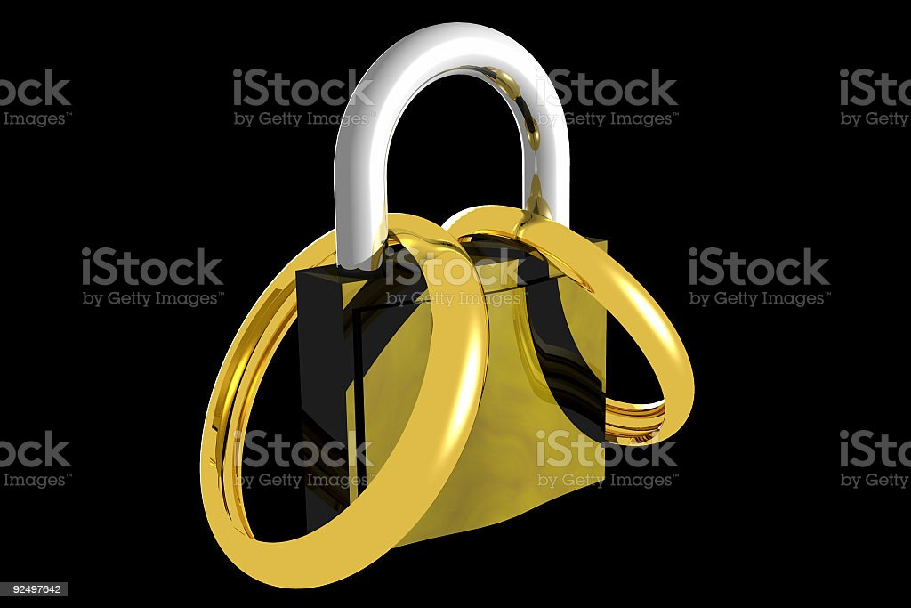 Locked marriage (3D) royalty-free stock photo