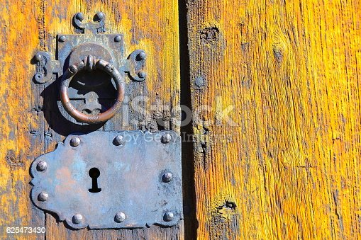 Locked Old door entrance lock chain, medieval Architecture Detail – Norwegian Lom Stave church, Norway, Scandinavia