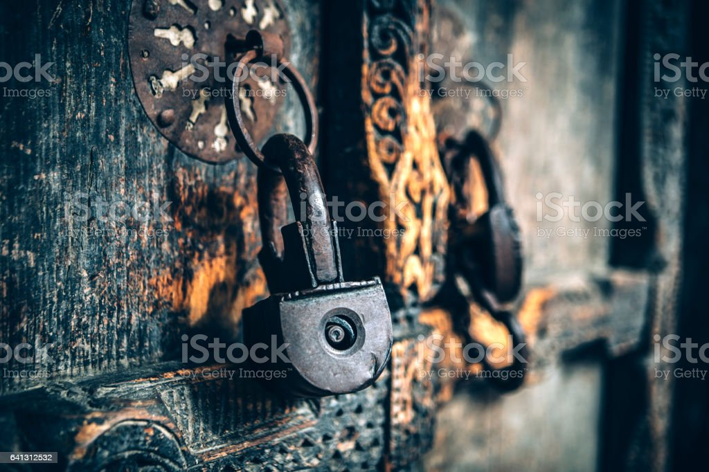 Locked Old Door stock photo