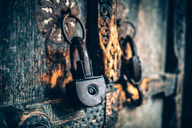 Locked Old Door stock photo