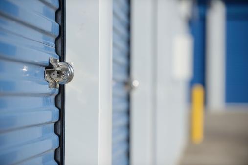 Lock on a self storage unit door. Shallow DOF.