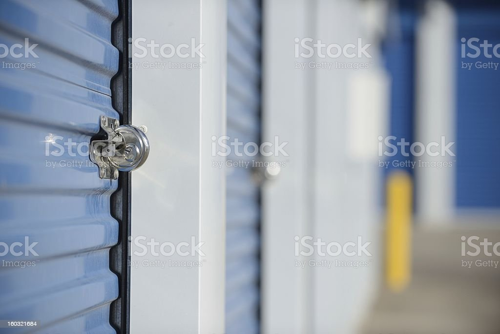 Locked self storage unit. stock photo
