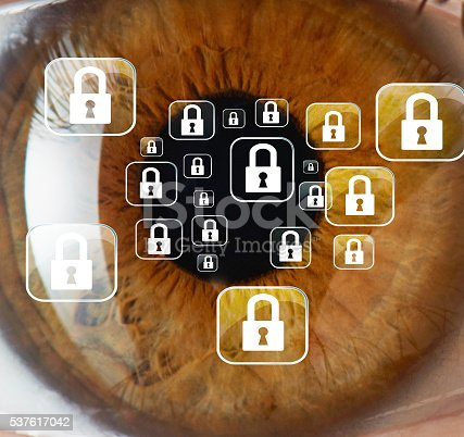 close up eyeball seeing locked icons