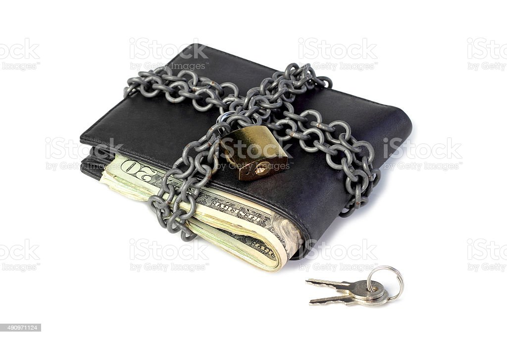 Locked wallet and saved money stock photo