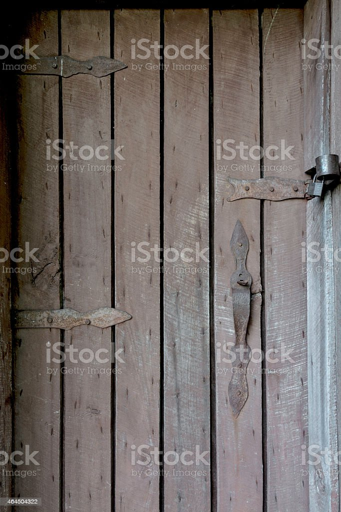 Locked wood door and handle stock photo