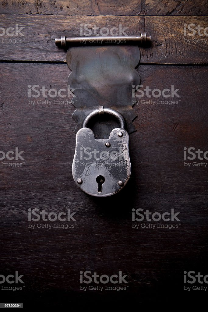 Locked Wooden Chest royalty-free stock photo