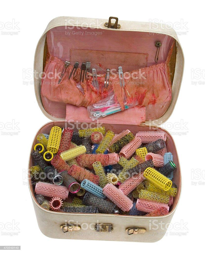 Lockenwickler in einem Koffer (70iger Jahre) stock photo