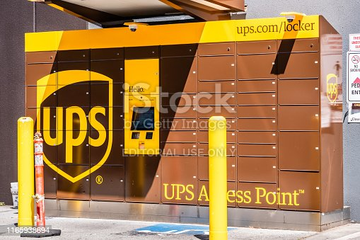 July 30, 2019 Menlo park / CA / USA - UPS locker available 24 hours for package pick-up in San Francisco bay area; UPS has expanded the number of locker pickup locations to 300 in 2016 in the USA
