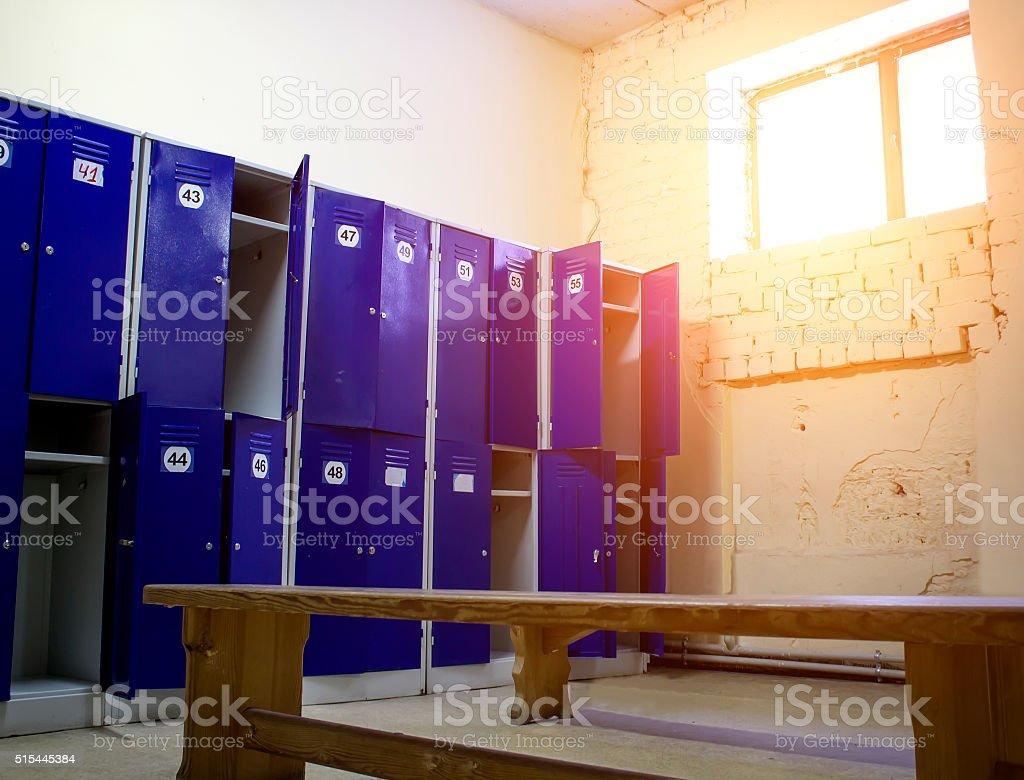 Locker Room at the Gym stock photo