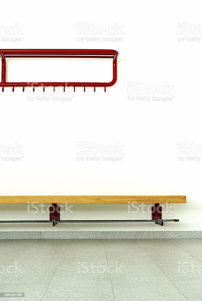 Locker room bench stock photo