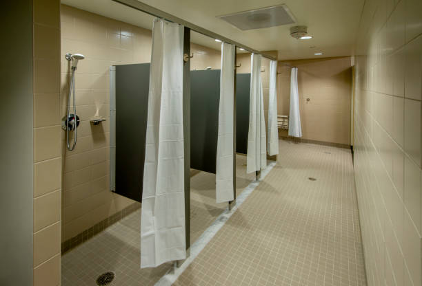 Locker Room Shower stock photo