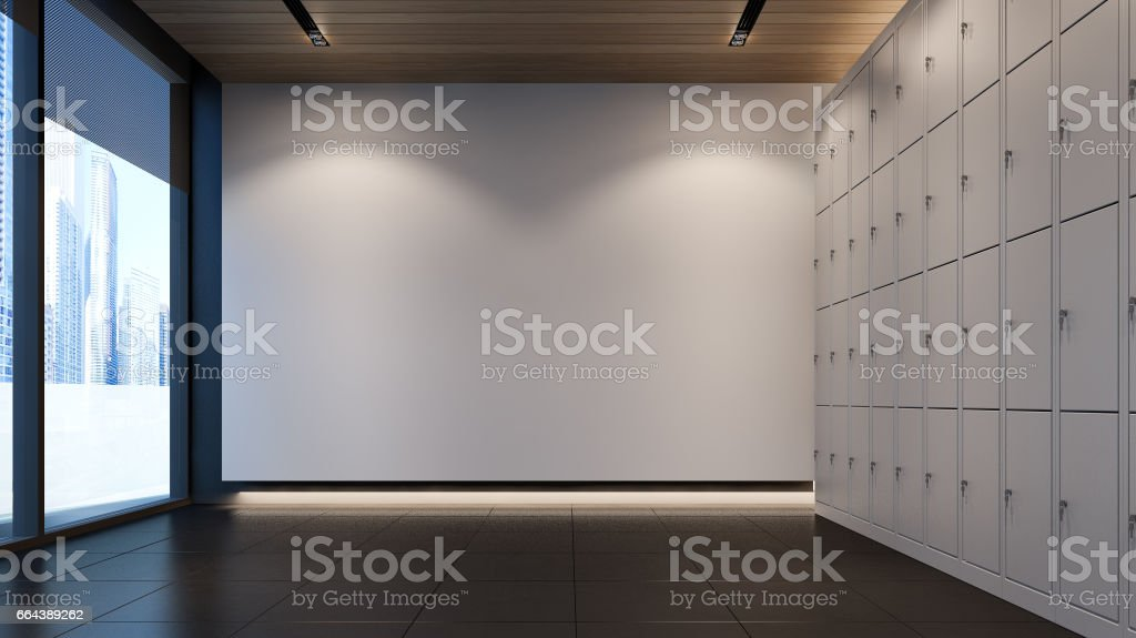 Locker Room With White Wall In Modern Gym 3d Rendering Stock Photo