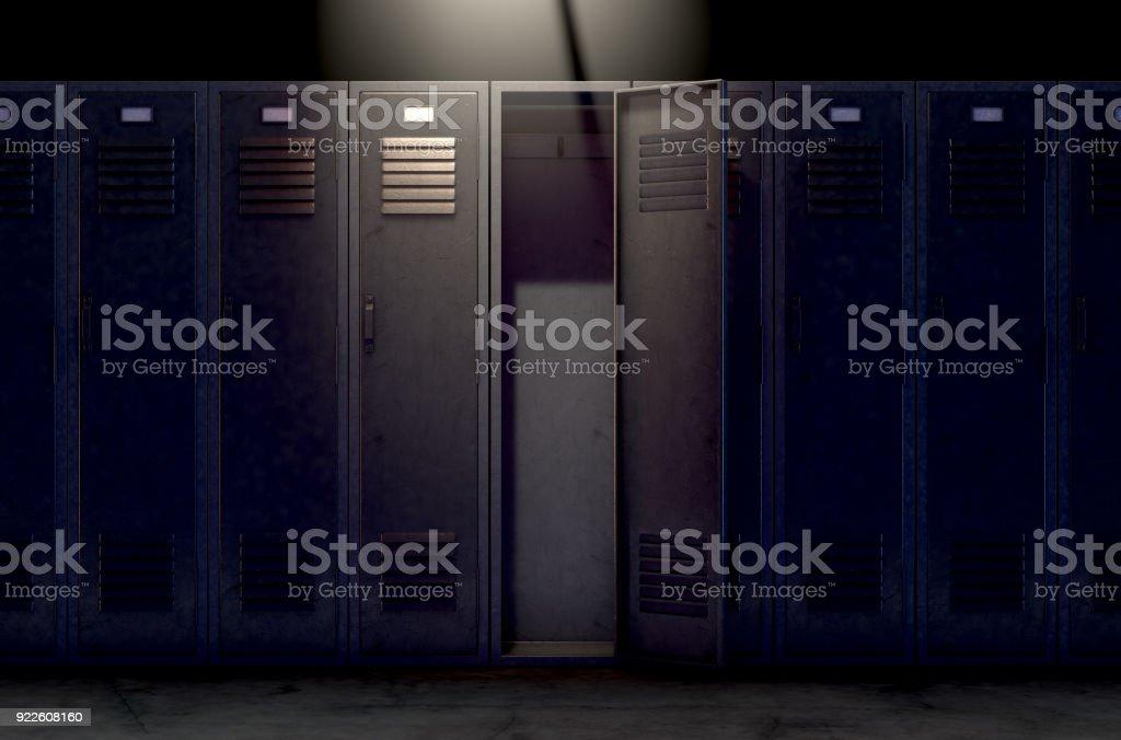 Locker Row And Open Door stock photo