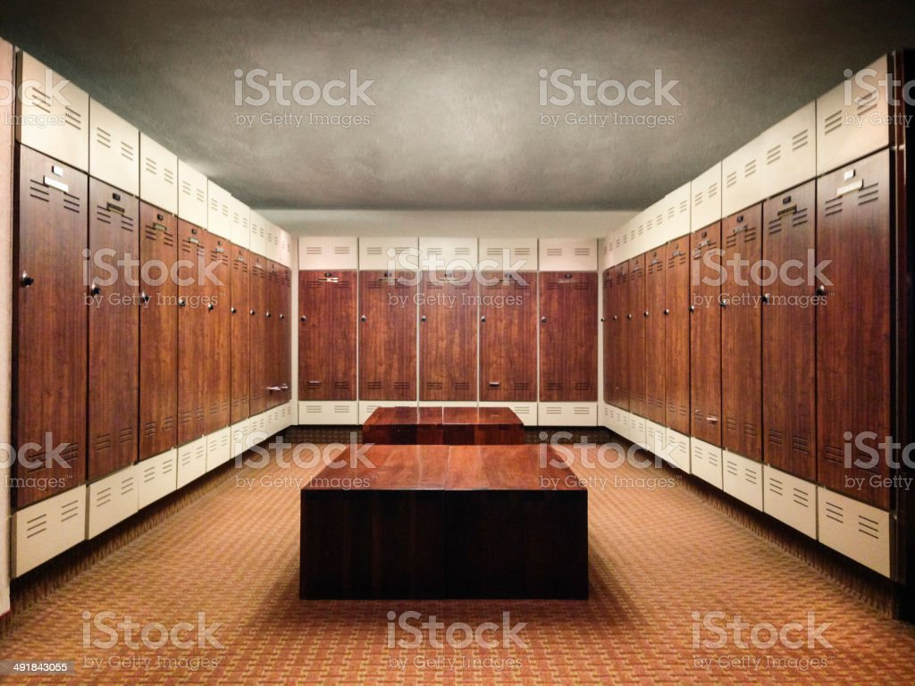 Lockers and bench stock photo