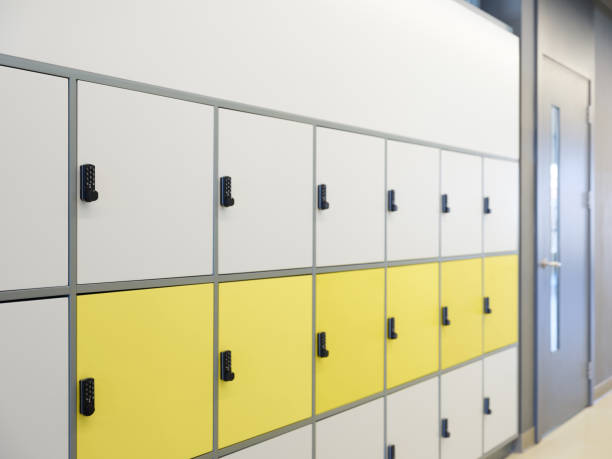 Lockers in high school corridor
