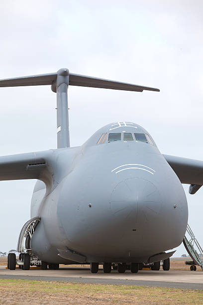 Lockheed C-5 Galaxy military transport airplane stock photo