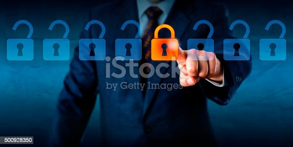 488497362istockphoto Locking A Virtual Lock In A Lineup Of Open Locks 500928350